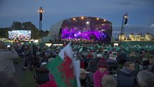 Caerphilly Castle overlooks the stage.