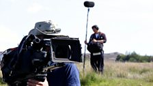 The camera and sound crew at work
