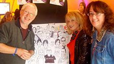 Alex Lester's cartoonist Clive Goddard with EP and Clive's wife Amy Amani-Goddard.