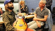 20 September 2013: Cloud Control's Jeremy Kelshaw chats guitars with Martin Clunes