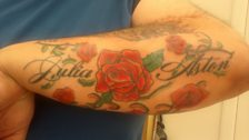 Jason has the names of his wife and son on his arm