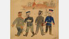 George Grosz - Vor der Kaserne (In Front of the Barracks), 1918