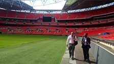 Sukhi Hayer speaks to the FA's Funke Awoderu at Wembley