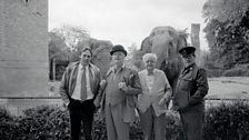 Stuart Wilson, Robert Urquhart, Andrew Cruickshank and Barry Stanton, stars of the BBC TV production of The Old Men at the Zoo