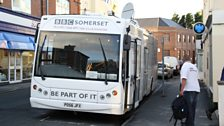 The Somerset Bus parked outside the Ritz Acoustic Club in Burnham
