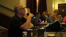 Graham the sound engineer talks to the audience