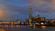 Night falls across the Thames