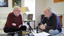 Brian Cosgrove being interviewed by Sir David Jason for the documentary, in Brian's study.