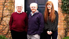 Brian Cosgrove, Sir David Jason and Crikey DM! Producer Kellie Redmond on location at Brian's house
