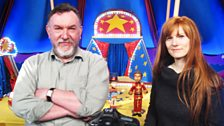 The former puppeteer for Barry Purves, on the set of Toby's Travelling Circus, with Crikey DM! Producer Kellie Redmond