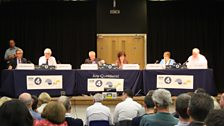 The Any Questions? panel on stage; John Redwood, Norman Lamb, Maria Eagle and Billy Hayes