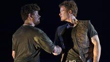 Glyndebourne Tour 2013. The Rape of Lucretia. Junius (Oliver Dunn) and Tarquinius (Duncan Rock).