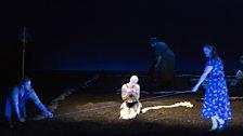 The Rape of Lucretia. L – r front row Male Chorus (Allan Clayton), Lucretia (Claudia Huckle) and Female Chorus (Kate Valentine).