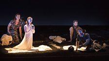 L – r Female Chorus (Kate Valentine), Lucretia (Claudia Huckle), Male Chorus (Allan Clayton) and Tarquinius (Duncan Rock).