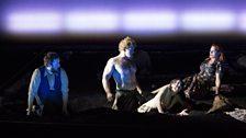 L – r Male Chorus (Allan Clayton), Tarquinius (Duncan Rock), Lucretia (Claudia Huckle) and Female Chorus (Kate Valentine).