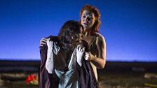 The Rape of Lucretia. Lucretia (Claudia Huckle) and Female Chorus (Kate Valentine).
