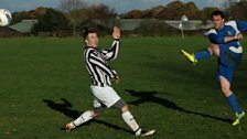 James Curbishley scores in the East Cheshire League Against Old Alts FC.