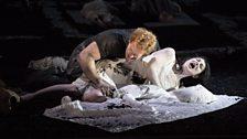 The Rape of Lucretia. Tarquinius (Duncan Rock) and Lucretia (Claudia Huckle).