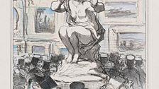 Salon de 1857...Triste Contenance de la Sculpture, 22 July 1857 Lithograph, second state, Album impression, hand-coloured