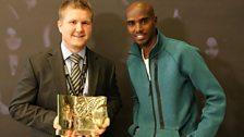 Double Olympic Champion Mo Farah CBE, presents an award