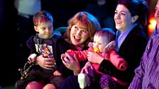 Happy families - Gina enjoying the panto with daughter Ruth and grandkids Romeo and Eilidh