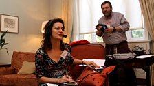 Forum producer Emily Kasriel and studio engineer Bob Nettles.  Photo credit: Jackie Zhang