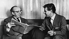 Leonard Bernstein and Aaron Copland with the score of El Salón México c.1960