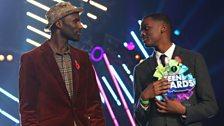 Wretch 32 with Teen Hero Jeremiah at Radio 1's Teen Awards 2013