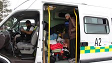 Maqsood and Majid in a packed ambulance