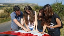Joe Crowley, Sarah, Abi and Irum plan their route