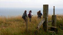 Sarah, Abi and Irum walking