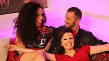 Karen was ecstatic to see she was sharing the sofa with Natalie and Artem