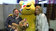 The winner of the Signature Bake section - Saffron, with Pudsey and Christine