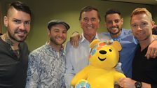 Boyzone with Sir Terry and Pudsey bear