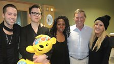 Ellie Goulding plus her band with Sir Terry and Pudsey!