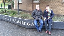John McCarthy and Travis Elborough at Spring Gardens in Vauxhall, London.