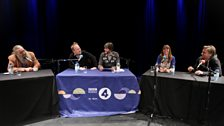 Robin Ince and Brian Cox (middle) with guests (left to right) Alan Moore, Claudia Hammond and Beau Lotto.