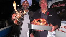 Hardeep, fisherman Jeremy Brown and a live lobster.