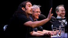 Comedian Ross Noble, paleobiologist Dave Martill and presenter Robin Ince