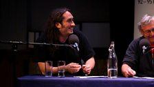 Comedian Ross Noble and paleobiologist Dave Martill