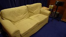 Sofa - also folds out to be a bed. Ooh, that's seen some action over the years...