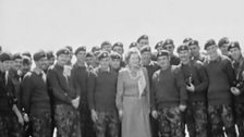 Margaret Thatcher amongst the troops