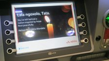 Mandela tribute on an ATM screen at OR Tambo airport, Johannesburg