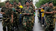 Umkhonto we Sizwe (Spear of the Nation: armed wing of the ANC) veterans march in Soweto in memory of their founder