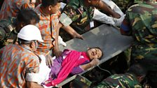 Reshma Begun among the rubble of a collapsed garment factory in Bangladesh.