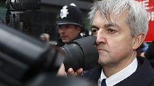 Chris Huhne meets the press at Southwark Crown Court