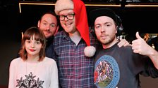 CHVRCHES pose with Huw Stephens