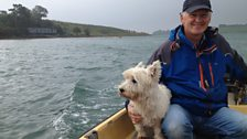 Mike and his dog, on the Lough
