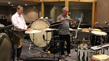 Percussionists Steve Webberley and Alasdair Malloy create our spooky noises!