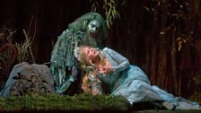 """John Relyea as the Water Sprite and Renée Fleming in the title role of Dvořák's """"Rusalka."""""""